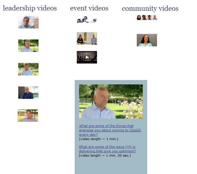 Video portal to organize visual Intranet